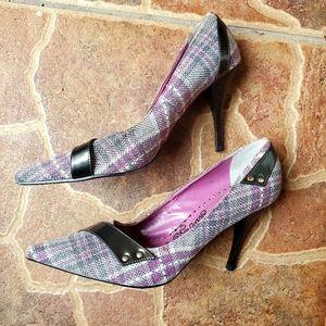 Naughty Monkey Purple Gray Plaid Heels